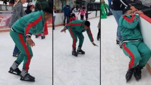 Un homme fait du patin à glace pour la première fois