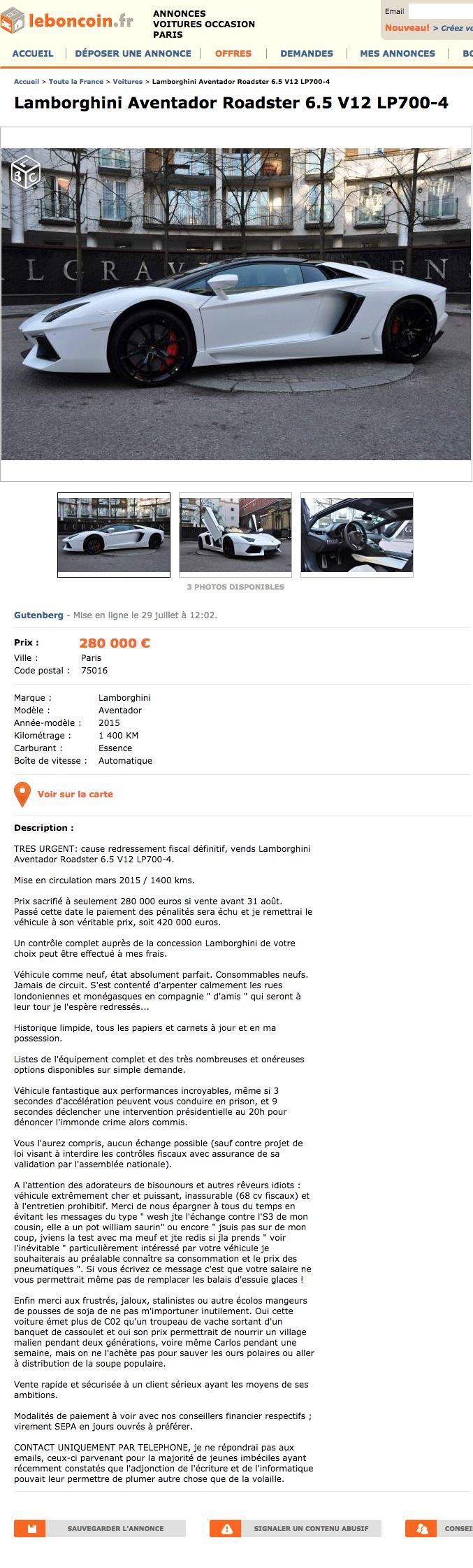 Il vend sa Lamborghini sur Le Bon Coin, sous prétexte d'être victime d'un redressement fiscal !