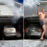 Il tente le lancer d'eau bouillante pendant le vortex polaire, mais c'est raté!