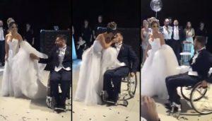 Ils aident le marié handicapé à danser avec sa femme, tellement émouvant !