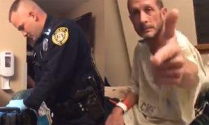 Les flics cherche le cannabis dans la chambre d'un patient à l'hôpital