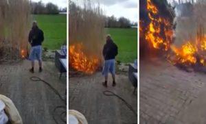 Il brûle un arbre desséché dans son jardin. Mauvaise idée