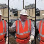 Un ouvrier du bâtiment imite Donald Trump