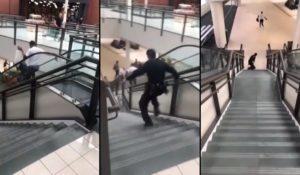 Un agent de sécurité tombe dans les escaliers pour arrêter un voleur