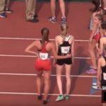 Une athlète refuse de quitter la piste d'athlétisme après avoir été disqualifiée