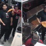Un employé sauve une pizza alors qu'elle allait tomber au sol