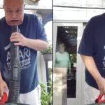 Un mari est pris en flag en train de jouer avec un souffleur à feuilles