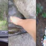 Une bouteille de bière abandonnée à son sort dans une rivière