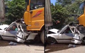 Un automobiliste s'est fait prendre en sandwich entre deux camions et a la chance de sa vie