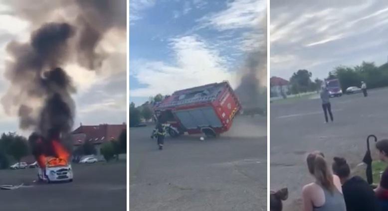 Ce camion des sapeurs-pompiers se renverse à l'arrivée lors d'une démonstration