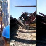 Des ouvriers se ratent lors de déchargement d'un train