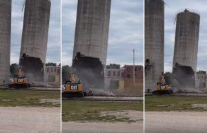 Un silo s'effondre au-dessus d'une excavatrice