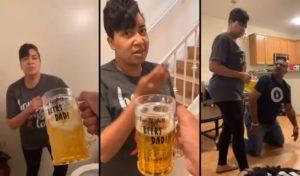 Elle se fait piéger par son fils avec un faux verre de bière