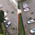 Un manifestant chilien évite avec succès cinq flics à moto