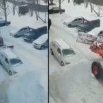 Le chauffeur d'une déneigeuse se venge d'une voiture laissée mal garé