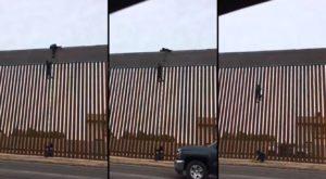 ils sautent le mur de frontière nouvellement construit