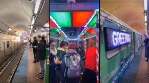 Des passagers ont la chance de prendre le métro déguisé pour Noël