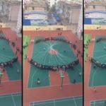 Des élèves chinois se réunissent pour balancer les cordes à sauter ensemble