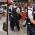 Arrestation d'une femme sans masque