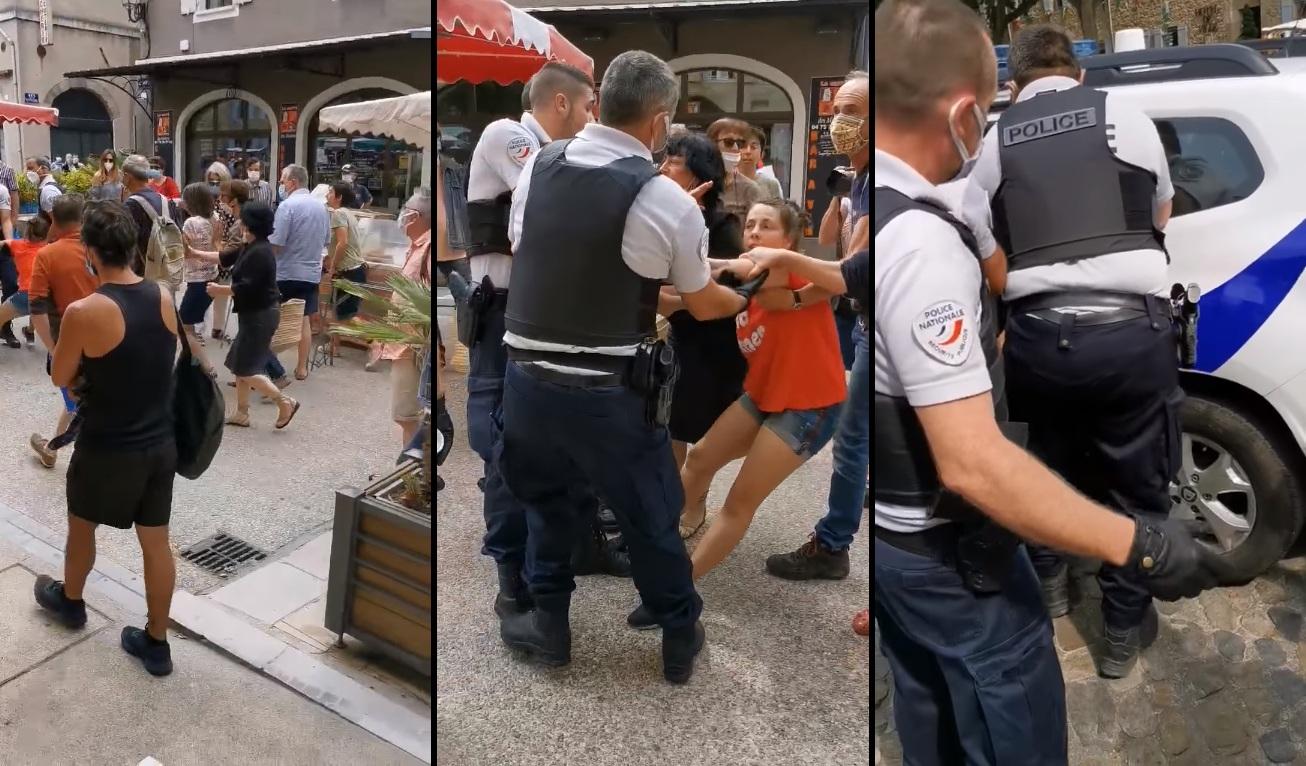 Les flics arrêtent une femme qui refuse de porter un masque