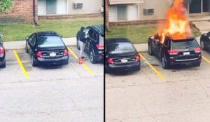 Une fille met le feu à l'intérieur de la voiture de son ex-petit ami