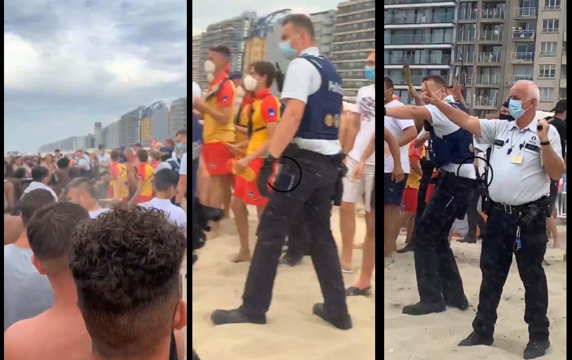 La police oblige les baigneurs de respecter les règles de distanciation et ça dégénère