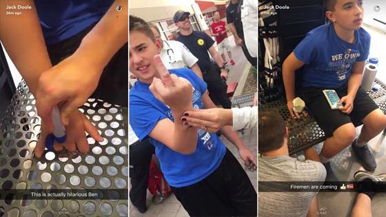 Un ado coince ses doigts dans le banc d'un magasin