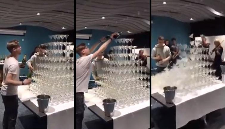 Ce serveur tente de remplir une cascade de champagne et fait une énorme bourde !