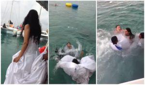 Elle s'est presque noyée après avoir sauté dans l'océan avec sa robe de mariée