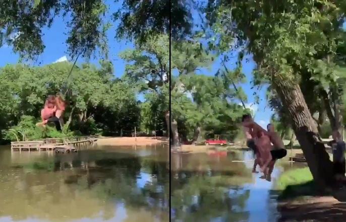 Une balançoire à une branche avec 11 personnes dessus !