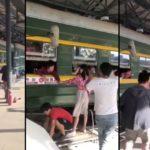 Tournage d'une scène d'adieu dans une gare