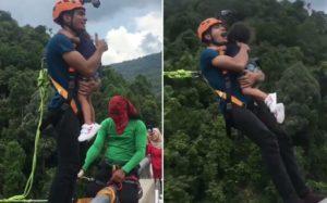Un papa prend le risque de sauter à l'élastique avec sa fille dans les bras sans sécurité