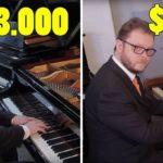 Un pianiste teste plusieurs pianos pour entendre la différence