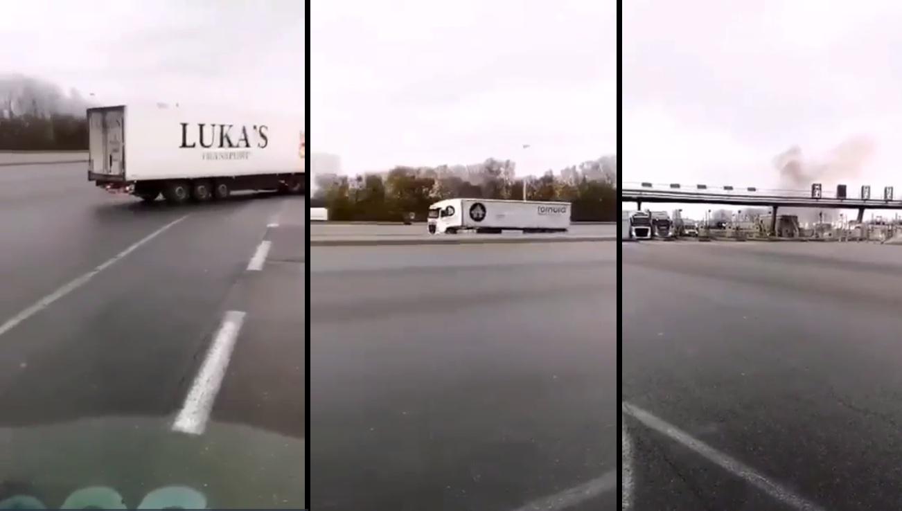 Un camion poursuivi par des gendarmes vient percuter une barrière de péage dans l'Oise !