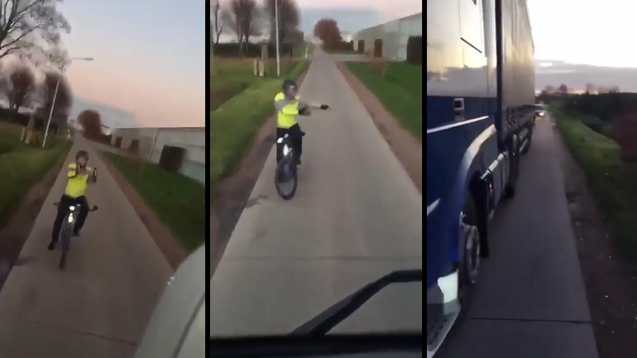 Belgique : Ce cycliste refuse de laisser passer un camion