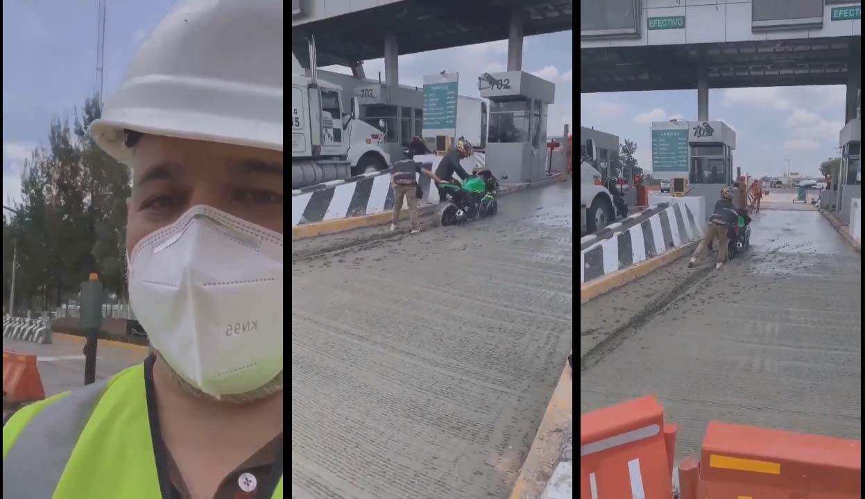 Il coince sa moto dans du ciment frais en essayant d'échapper au péage