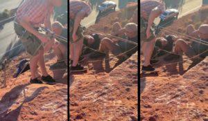 Une équipe de football sauve une femme suspendue à la falaise par ses cheveux